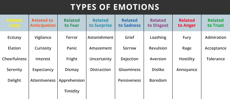 an analysis of all kinds of emotions All stories contain conflict, and some people disagree about how many types of conflict there are these discrepancies depend on individual narrative circumstances, but there are cases in which you should recognize a total of seven different types of narrative conflict.